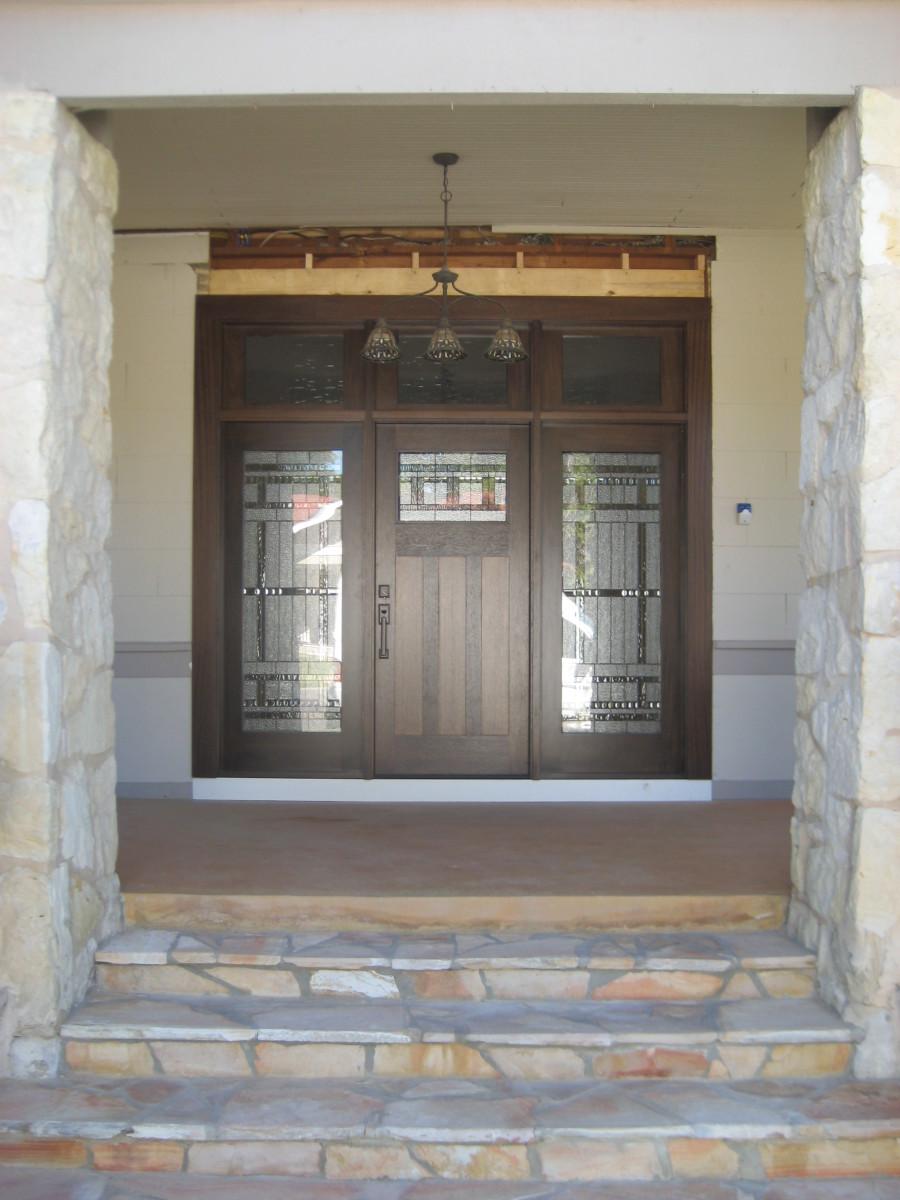 Craftsman wood door gallery the front door company 2186 craftsman addison decorative glass with custom sidelites rubansaba