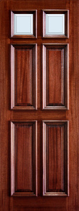3-0x8-0_Mahogany_6_Panel_Raised_Moulding_Clear_Bevel_Top_Panels