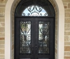 IDG1912-Milan_with_Raised_Panel_Double_Iron_Door_with_Round_Top_Transom